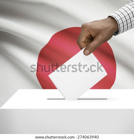 Ballot box with flag on background - Japan