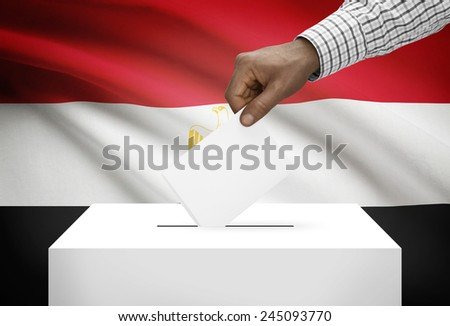 Ballot box with national flag on background - Egypt - stock photo