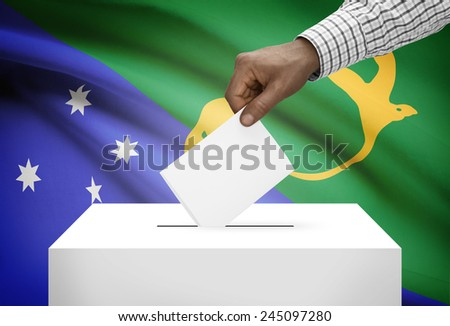 Ballot box with national flag on background - Republic of China - Taiwan - stock photo
