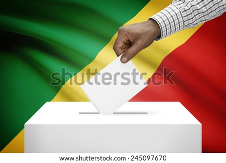 Ballot box with national flag on background - Republic of the Congo - Congo-Brazzaville - stock photo