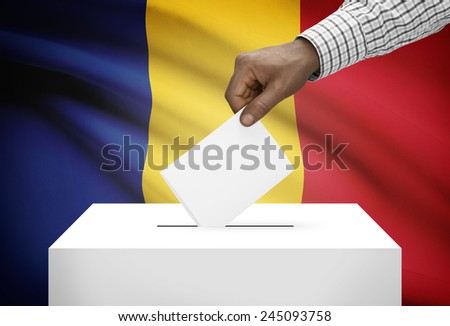 Ballot box with national flag on background - Romania - stock photo