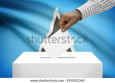 Ballot box with national flag on background - Saint Lucia