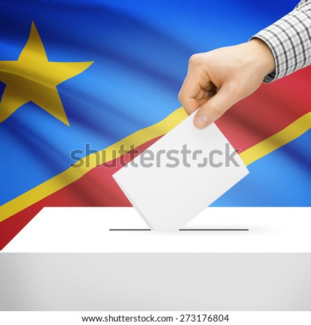 Ballot box with national flag on background series - Democratic Republic of the Congo - stock photo