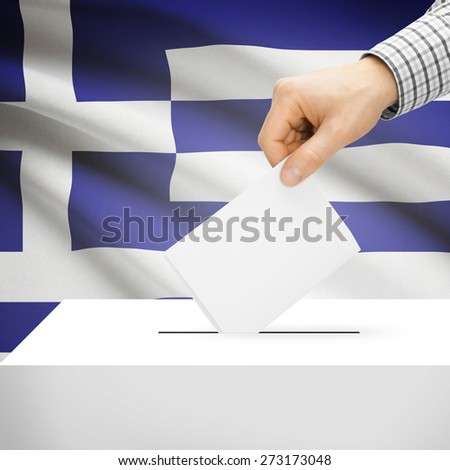 Ballot box with national flag on background series - Greece - stock photo