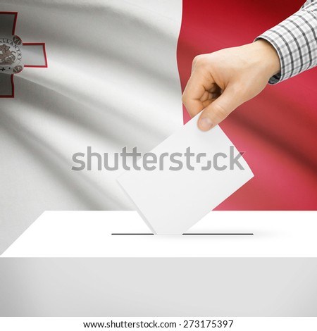 Ballot box with national flag on background series- Malta