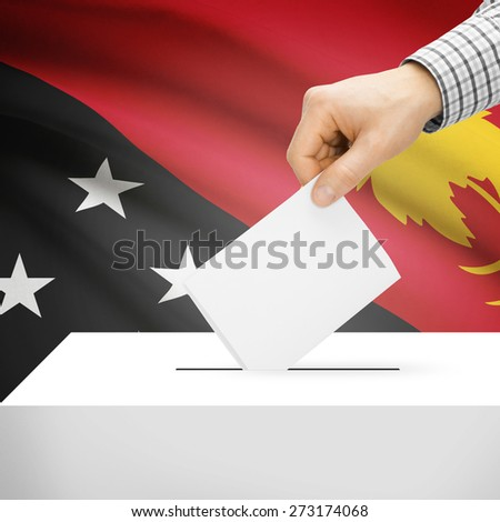 Ballot box with national flag on background series - Papua New Guinea