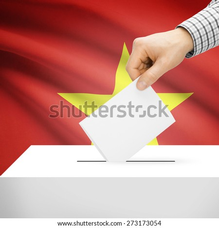 Ballot box with national flag on background series - Vietnam - stock photo