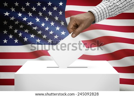 Ballot box with national flag on background - United States of America - stock photo