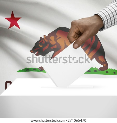 Ballot box with US state flag on background - California - stock photo