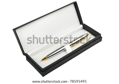 Ballpoint pen in black box isolated on white