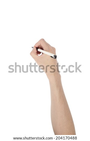 ballpoint pen on asian man's hand, isolated on white