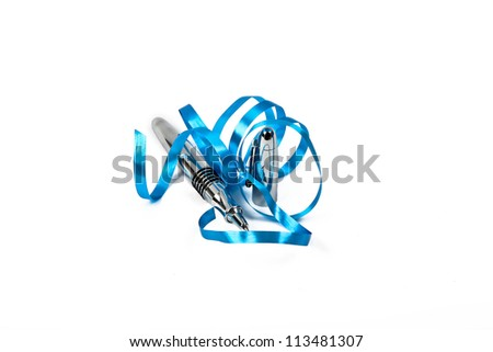 ballpoint pen with blue decoration isolated on white