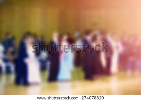Ballroom dancing competition blur background with shallow depth of field bokeh effect - stock photo