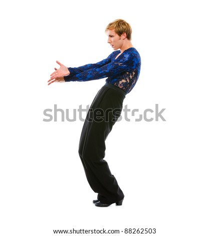 Ballroom male dancer posing on white background