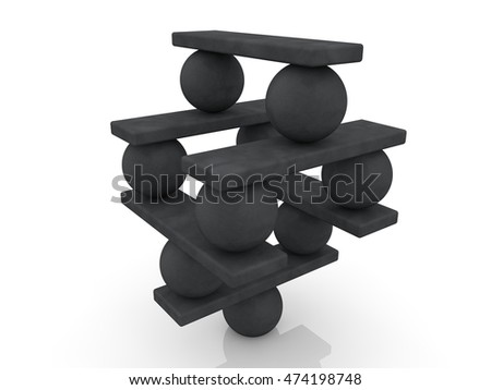 Balls and seesaw assembled in pyramid.3d illustration.