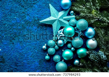 balls and stars mock up to decorate christmas tree on blue background top view