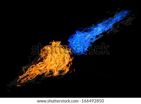 balls of blue and orange fire isolated on black background - stock photo