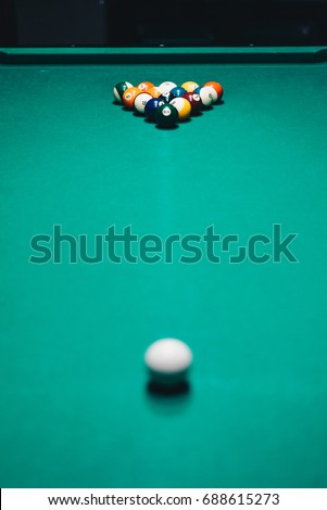 balls of different number type diameter color and pattern on a billiard