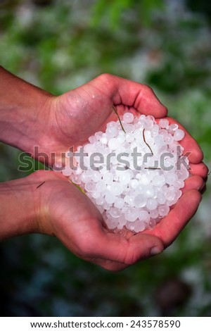 Balls of hail on the grass in the summer after the storm - stock photo