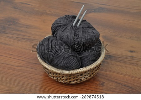 Balls of wool in basket - stock photo