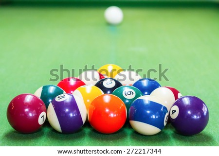 Balls on a pool (billiards) table