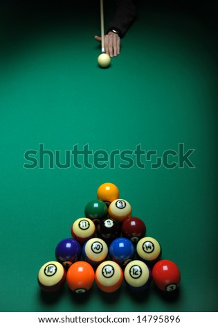 Balls on a pool (billiards) table during play