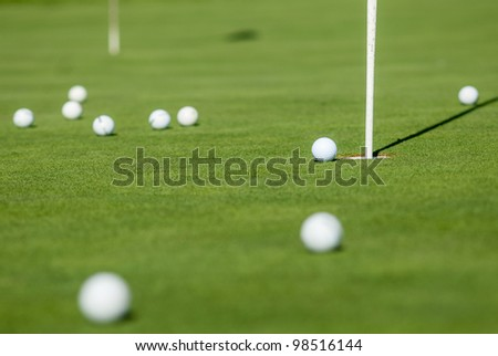 Balls on the chipping green.