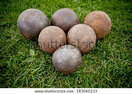 Balls on the grass.