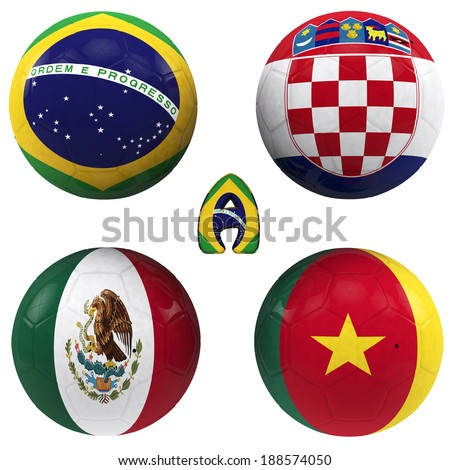 balls with flags of the football teams that make up the a group of  2014  brazil isolated with clipping path - stock photo