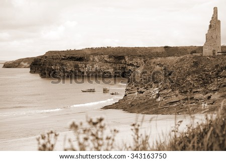 Ballybunion Sea & Cliff Rescue Service at ballybunion cliffs castle and beach of  county kerry ireland - stock photo