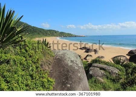 Balneario Camboriu - Brazil - View of Taquarinhas Beach - stock photo