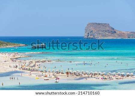 BALOS LAGOON, CRETE, GREECE - JULY 25, 2014 : The Beautiful Balos Lagoon In July In Crete, Greece - stock photo