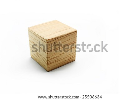 Balsa wood cube, on the white background - stock photo