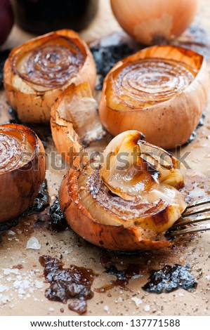 Balsamic And Olive Oil Roasted Onion - stock photo