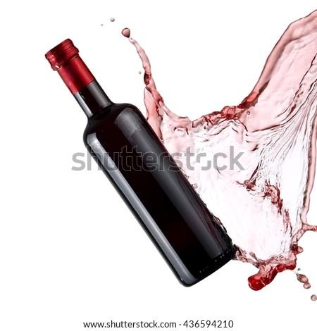 Balsamic vinegar bottle splash - stock photo