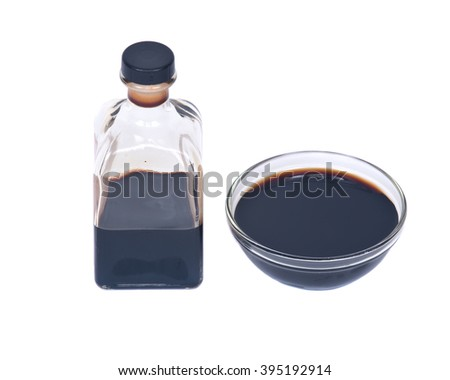 Balsamic vinegar in bowl separated on white background - stock photo