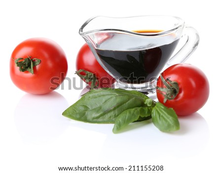 Balsamic vinegar,  tomato and basil isolated on white - stock photo