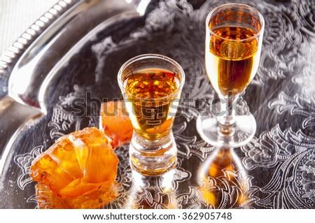 Baltic amber liqueur - stock photo