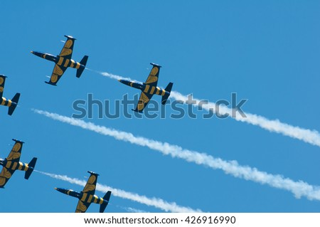 Baltic Bees Jet Team performs at the Air Show on May 21, 2016 in Timisoara, Romania