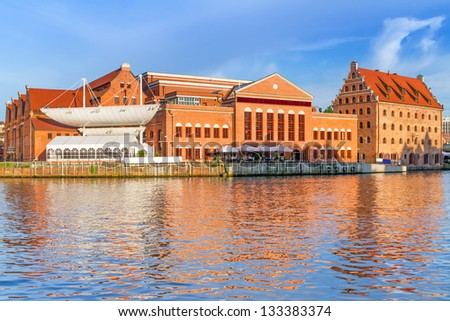 Baltic Philharmonic in Gdansk at Motlawa river, Poland