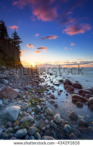 Baltic sea and Cliff of Orlowo at sunrise, Poland