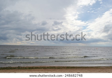 Baltic Sea at cloudy day. - stock photo