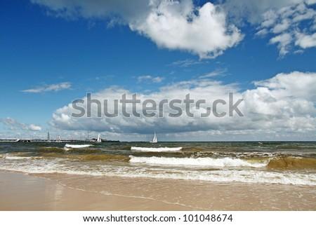 Baltic sea at cloudy day. Sopot, Poland - stock photo