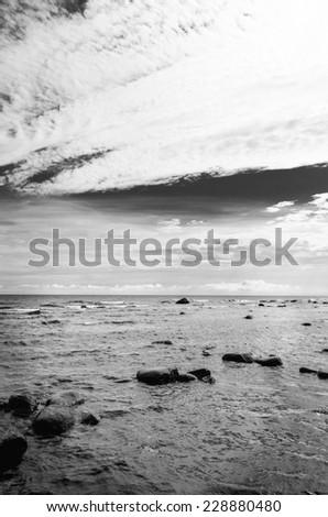 Baltic sea  in black and white - stock photo