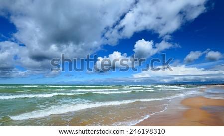 Baltic sea shore in Ventspils, Latvia - stock photo