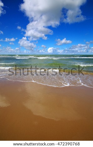 Baltic sea shore in Ventspils, Latvia