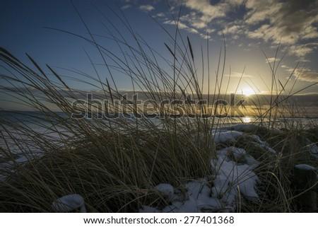 baltic sea sunset - stock photo