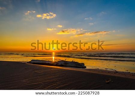 Baltic sea sunset coastline near Riga - stock photo