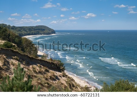 Baltic sea view from the cliff near Rozewie, Poland - stock photo