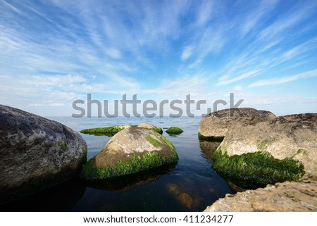 Baltic sea view with giant granite rocks